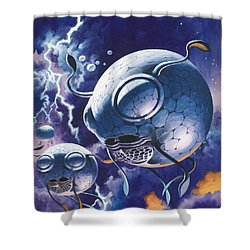 Creatures In Outer Space  Shower Curtain by Wilf Hardy