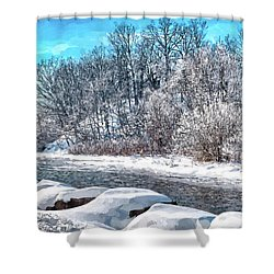 Shower Curtain featuring the digital art Credit River At Winter by Kai Saarto