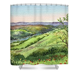 Shower Curtain featuring the painting Creek In The Hills Watercolor Landscape  by Irina Sztukowski