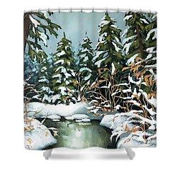 Creek, Winter, Snow Shower Curtain