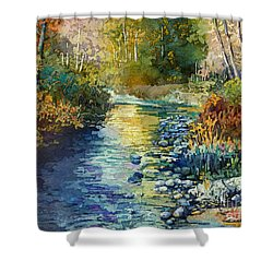 Shower Curtain featuring the painting Creekside Tranquility by Hailey E Herrera