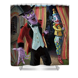 Creepy Circus Shower Curtain by Martin Davey
