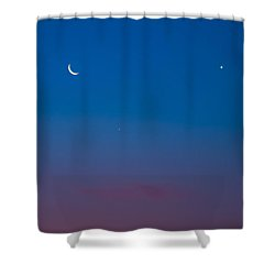 Crescent Moon Mercury And Venus Shower Curtain