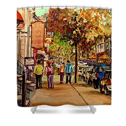 Shower Curtain featuring the painting Crescent Street Montreal by Carole Spandau