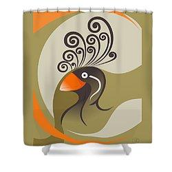 crestedAUKLET Shower Curtain by Mariabelones ART
