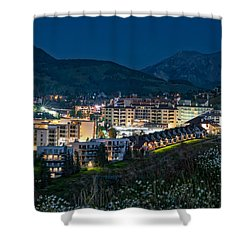Crested Butte Village Under Full Moon Shower Curtain