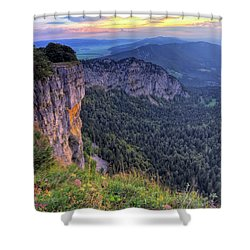 Creux-du-van Or Creux Du Van Rocky Cirque, Neuchatel Canton, Switzerland Shower Curtain