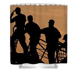 Crewmen Salute The American Flag Shower Curtain by Stocktrek Images