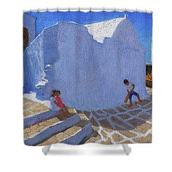 Cricket By The Church Wall, Mykonos  Shower Curtain