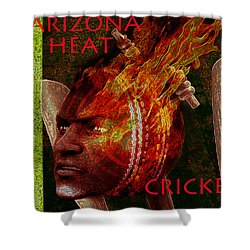 Shower Curtain featuring the painting Cricket Poster by Suzanne Silvir