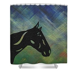 Crimson - Abstract Horse Shower Curtain