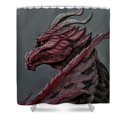 Shower Curtain featuring the painting Crimson Dragon by Jennifer Hotai