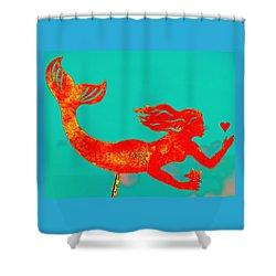 Crimson Mermaid Shower Curtain