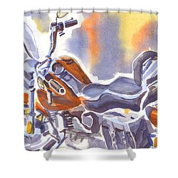 Crimson Motorcycle In Watercolor Shower Curtain