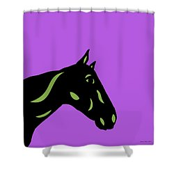 Crimson - Pop Art Horse - Black, Greenery, Purple Shower Curtain