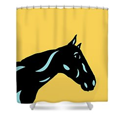 Crimson - Pop Art Horse - Black, Island Paradise Blue, Primrose Yellow Shower Curtain