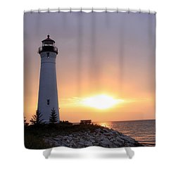 Crisp Point Lighthouse At Sunset Shower Curtain by George Jones