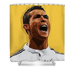 Cristiano Ronaldo Cr7 Shower Curtain by Semih Yurdabak