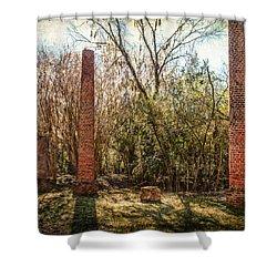 Crocheron Columns Shower Curtain by Phillip Burrow