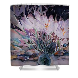 Shower Curtain featuring the painting Crocuses by Mindy Newman