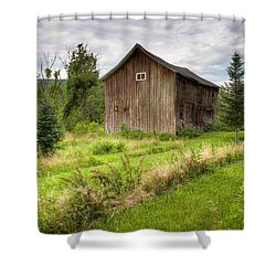 Shower Curtain featuring the photograph Crooked Old Barn On South 21 - Finger Lakes New York State by Gary Heller