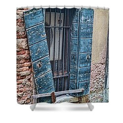 Shower Curtain featuring the photograph Crooked Shutter by Kim Wilson