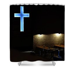 Shower Curtain featuring the photograph Cross And Tables by Jerry Sodorff