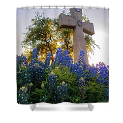 Da225 Cross And Texas Bluebonnets Daniel Adams Shower Curtain