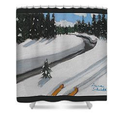 Cross Country Skiing Lone Star Geyser Trail In Yellowstone Nat. Park Shower Curtain