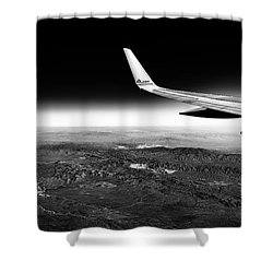 Shower Curtain featuring the photograph Cross Country Via Outer Space by T Brian Jones
