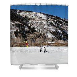 Cross-county Skiers Outside Aspen Shower Curtain