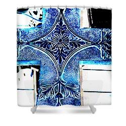 Cross In Blue Shower Curtain