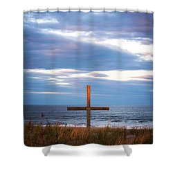 Cross Light Square Shower Curtain by Terry DeLuco