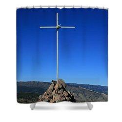 Cross On Fremont Peak Shower Curtain