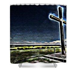 Cross On The Hill Shower Curtain by Douglas Barnard