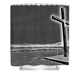 Shower Curtain featuring the photograph Cross On The Hill V2 by Douglas Barnard