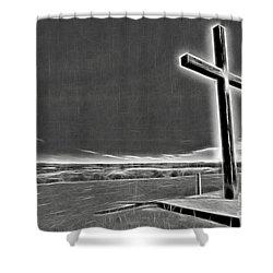Cross On The Hill V2 Shower Curtain by Douglas Barnard