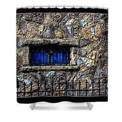 Cross Stained Glass Window Shower Curtain by Brenda Bostic