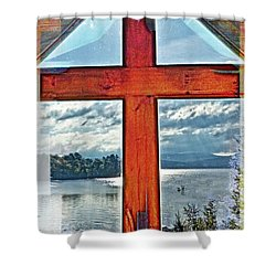 Cross Window Lake View  Shower Curtain