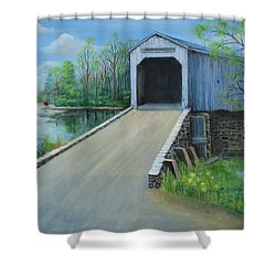 Crossing At The Covered Bridge Shower Curtain