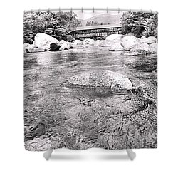 Crossing Nature In Black And White Shower Curtain
