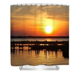Shower Curtain featuring the photograph Crossing The Bridge At Sunset by Robert Banach