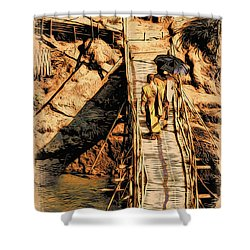 Crossing The Bridge Shower Curtain