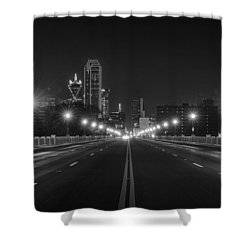Shower Curtain featuring the photograph Crossing The Bridge To Downtown Dallas At Night In Black And White by Todd Aaron