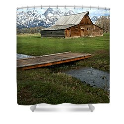 Crossing The Creek Along Mormon Row Shower Curtain by Adam Jewell
