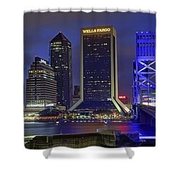 Crossing The Main Street Bridge - Jacksonville - Florida - Cityscape Shower Curtain by Jason Politte