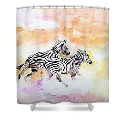 Crossing The River. Shower Curtain by Khalid Saeed
