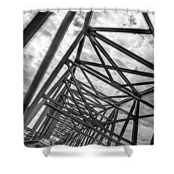 Shower Curtain featuring the photograph Crossing Through The Chesapeake Bay Bridge by T Brian Jones
