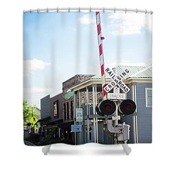 Shower Curtain featuring the photograph Crossings In Old Town Helena by Parker Cunningham