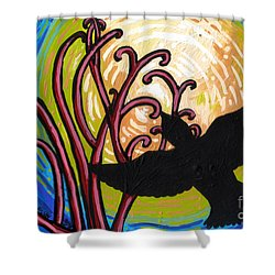 Crow And Full Moon In Winter Shower Curtain by Genevieve Esson